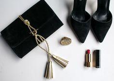 Black Suede Clutch with gold braided leather tassel by NIKKI WILLIAMS 533bfab35259f