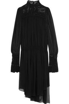 Black silk-chiffon  Button fastenings along back 100% silk; lining: 55% cotton, 25% polyamide, 20% silk Dry clean