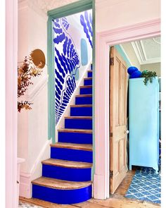 Wall Colors, House Colors, Hallway Colors, Stairs Colours, Bathroom Colors, Paint Colors, Blue Hallway, Modern Hallway, Modern Stairs