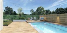 Tuinontwerp Moderne tuin bij hedendaagse woning Brugge. Zwembad , hardhouten terras, betontegels, carport