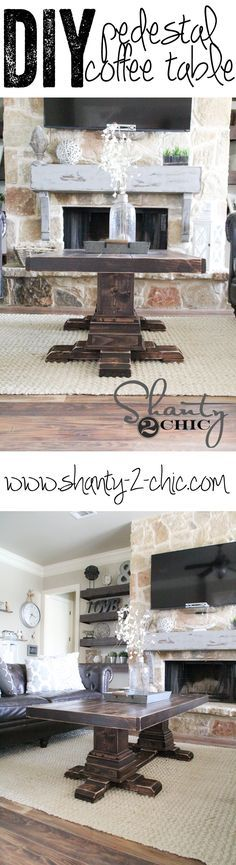 DIY Pedestal Coffee Table for only $130 in lumber! Free Plans and detailed tutorial on molding! LOVE this coffee table!