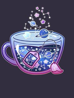 'Galaxy Tea' T-Shirt by heysoleilart Kawaii Wallpaper, Cute Wallpaper Backgrounds, Galaxy Wallpaper, Cartoon Wallpaper, Cute Wallpapers, Cute Food Drawings, Cute Kawaii Drawings, Arte Do Kawaii, Kawaii Art
