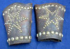 Antique Cowboy Western Leather Wrist Cuffs Brass Studded Star & Border