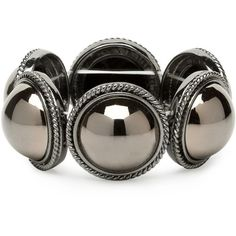 Hematite Stretch Bracelet ($5.85) ❤ liked on Polyvore featuring jewelry, bracelets, women's clothing, women's jewellery, women+jewellery, stretch jewelry and hematite jewelry
