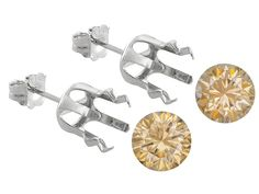 Champagne Strontium Titanate Lab Created 6.00ctw 8mm Pair W/Gemtite 14k White Gold Earring Castings