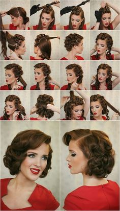 Vintage pin up hair style for medium length