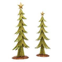 National Tree Company Assortment of Metal Green Trees with Gold Top Star - Set of 2 - RAC-H2034