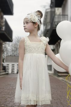 Cream Crochet Lace Girl's Dress and by Lilgigglescouture on Etsy