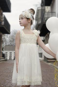 Cream Crochet Lace Girl's Dress and headband/Wedding/Flower girl dress on Etsy, $45.00