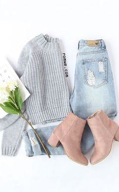 outfit flat lay / blush booties