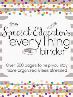 The Special Educator's Everything Binder (SPED Teacher Lesson Planner) Related Post Be brave and take risks. best 25 graduation cap ideas on Ideas montessori 35 Inspirational Quotes for Teachers Teacher Lesson Planner, Teacher Binder, Teacher Organization, Teacher Resources, Special Education Organization, Resource Teacher, Iep Binder, Paperwork Organization, Teachers Toolbox