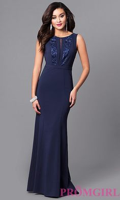 Image of long navy prom dress with lace and sequin bodice. Style: MCR-2123 Front Image