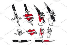 Vector traditional tattoo style set - hearts, knife, eye, hand, ribbons. Vintage ink old school tattooing by lifeking83 on @creativemarket