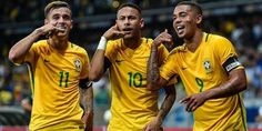 Philippe Coutinho Neymar and Gabriel Jesus of Brazil celebrates a scored goal against Argentina during a match between Brazil and Argentina as part 2018 FIFA World Cup Russia Qualifier at Mineirao stadium on November 2016 in Belo Horizonte, Brazil. Neymar Jr, Neymar Team, Neymar Football, World Cup 2018 Teams, Fifa World Cup 2018, Fc Barcelona, Bundesliga Live, Brazil Football Team, Champions League