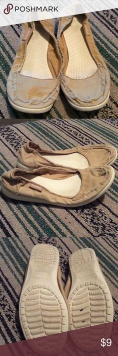Crocs slip ons These do show wear but comfy!  Light tan canvas with unfinished edges.  No box. CROCS Shoes Slippers