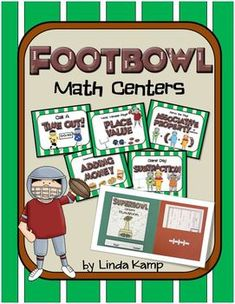 """Invite your Dads to volunteer for a Super Bowl math centers party! Includes place value, time, money, addition and subtraction, measurement, and the associative property. Also includes an MVP writing activity and """"student playbook"""" folder craftivity. My Dads and my kiddos loved it!"""