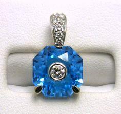 14k blue topaz and diamond pendant benchmarkgembrokers.com