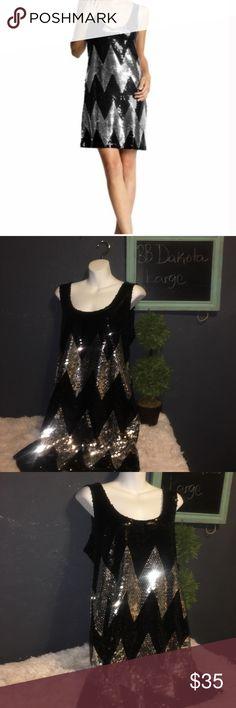 BB Dakota black & silver Chevron sequin dress (L) New without tags .. size Large sequin dress black and silver BB Dakota Dresses