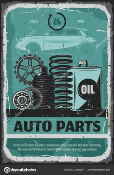Auto spare parts mechanic or car repair service retro poster. Vector vintage design of automobile cogwheels or shock absorber springs and engine oil canister for garage station , Car Repair Service, Auto Service, Auto Spares, Auto Spare Parts, Lorem Ipsum, Vintage Designs, Automobile, Typography, Retro
