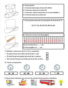 Fișă de lucru pentru recapitularea numerelor de la 0 la 100, unități de măsură (pentru lungime, capacitate, timp), surse de energie