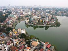 Aerial view of the skylines, Hanoi, Viet Nam