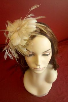 Lana Double Feather Flower Fascinator  Bridal by EllenMarieDesign, $128.00