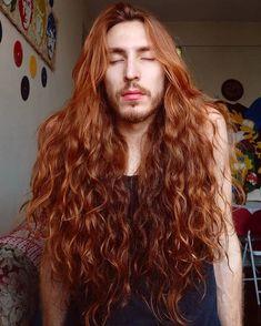 Long Gray Hair, Long Hair Cuts, Long Hair Styles, Blonde Male Models, Badass Haircut, Red Hair Men, Red Curls, Long Ponytails, Blonde Guys