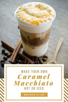 This homemade copycat Starbucks caramel Macchiato recipe is so simple you'll be enjoying these all summer long! Caramel Macchiato is a mul. Starbucks Caramel Macchiato Recipe, Ice Caramel Macchiato, Iced Macchiato Recipe, Hot Caramel Latte Recipe, Starbucks Iced Latte Recipe, Homemade Starbucks Recipes, Coffee Macchiato, Keurig Recipes, Café Starbucks