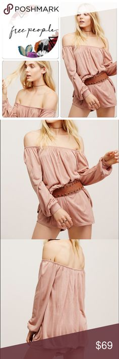 Free people jumper taupe S Made from our FP Beach jersey fabric, this super soft romper features a top long sleeve layer with a shorts bottom that has hip pockets. Off-the-shoulder style with an elastic band at the bust. In an oversized, effortless fit. 🌷  50% Rayon 50% Acrylic Free People Dresses