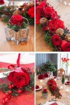 Avskårne blomster hører med til festen. Roser, nelliker sammen med vintergrønt og kongler skaper en hyggelig stemning