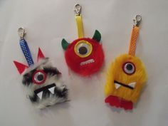 Monster bag tags, to clip onto school bags... made from craft fur for the Arts & Craft stall of the School Fete.