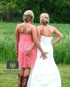 country wedding, best friends, sisters, bride with maid of honor www.facebook.com/rk.photography.kc rkphotography.net