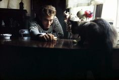 James Dean and his cat, Marcus. Source: Model's Own #famous #people #cats
