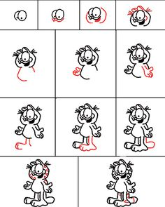 How to draw Garfield/Jim Davis, cycle 3 week 18 Cartoon Drawings, Easy Drawings, Drawing Sketches, Drawing For Kids, Art For Kids, Dibujos Toy Story, Illustration, Drawing Lessons, Step By Step Drawing