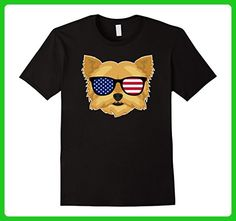 Mens Yorkie Dog Wearing American Flag Glasses Shirt Large Black - Animal shirts (*Amazon Partner-Link)