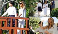 First Lady Melania Trump showed her love for the outdoors by trekking to Delray, Florida for a museum and garden tour with the Japanese Prime Minister's wife.