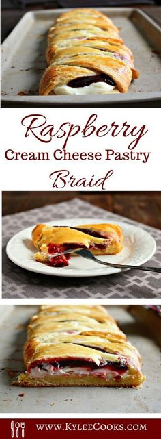 With a sweet cream cheese and raspberry filling, this pastry braid is a WINNER! It only takes 5 minutes to throw together, 20 (ish) minutes to bake, and you have a pretty looking and delicious tasting pastry to cut and share. Brunch Recipes, Bread Recipes, Baking Recipes, Breakfast Recipes, Dessert Recipes, Pastry Recipes, Pillsbury Recipes, Dessert Food, Brunch Ideas