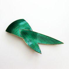 Vintage Sterling Enamel Norway Green Modernist Brooch Ivar Holt