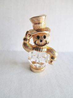 "SWAROVSKI Brand Swan Logo Pendant / Figurine Crystal Snowman Gold Plated 1.5"" H"