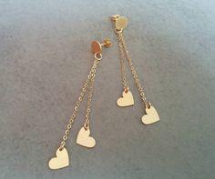 Gold Heart Earrings, Gold Stud Earrings, Gold #jewelry #earrings @EtsyMktgTool http://etsy.me/2zOO6CE