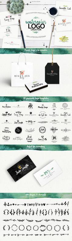Premade watercolor logo creator kit by Skyla Design on @creativemarket #logo #design #ad