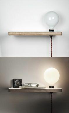 table de nuit suspendue, étagère flottante avec ampoule