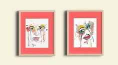 Couples WaterColored Faces by LittleArtBotique on Etsy