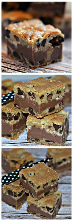 Fudge and toffee filled choc chip bars