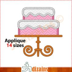 Cake applique design. Machine embroidery design -INSTANT DOWNLOAD- 14 sizes. Wedding cake embroidery. Birthday cake embroidery. BX by JLdizains on Etsy