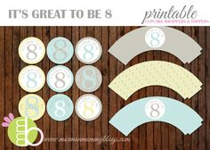 It's Great to be Eight Printable Cupcake Wrappers | Mormon Mommy Printables