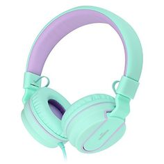 AILIHEN I35 Lightweight Foldable Headphones with Microphone Stereo Headsets Adjustable Headband for 3.5mm Android Cellphones Smartphones iPhone Laptop Computer Mp3 (Green Purple), http://www.amazon.co.uk/dp/B015WBVKN2/ref=cm_sw_r_pi_awdl_x_hYa1xbYF1GPWZ