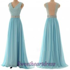 Light blue chiffon V-neck homecoming dress with see-through back, beaded A-line long prom dress, cute occasion dress for teens, bridesmaid dress 2016 -> sweetheartdress.s... #coniefox #2016prom