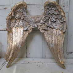 Large angel wings wall sculpture hand painted by AnitaSperoDesign - Fab!