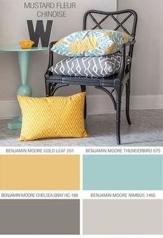 2016 Paint Color Ideas for your HomeBeach House Color Palette: Benjamin Moore Gold Leaf 201. Benjamin Moore Thunderbird 675. Benjamin Moore Chelsea Gray HC-168. Benjamin Moore Nimbus 1465.  Via Cute Decor.